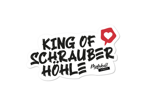 Aufkleber «Mofakult Tutorials - King of Schrauber Höhle» 90 x 55 mm