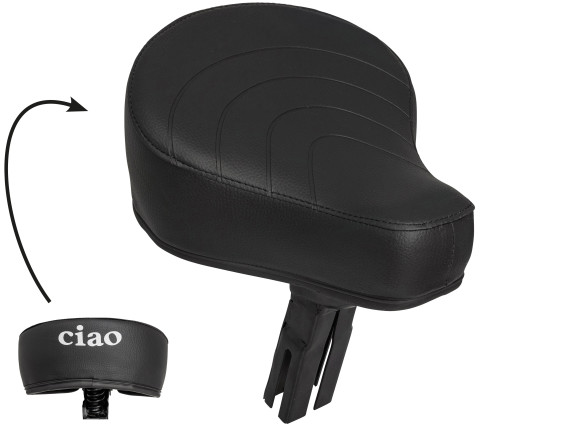 Sattel schwarz «CIAO» Schriftzug | Piaggio Ciao P (4-kant Aufnahme)