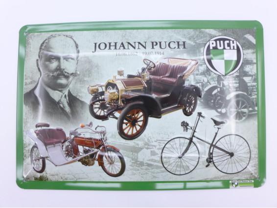 """""""Johann Puch"""" Blechschild"""
