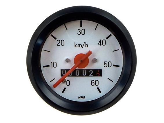Tacho 60 km/h Ø60 mm (weisses Ziffernblatt)