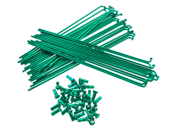"""17"""" Speichenset grün inkl. Nippel (2.9 x 188 mm)"""