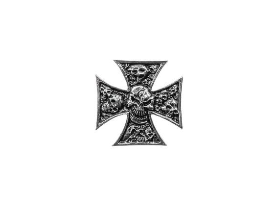Emblem Iron Cross Skull verchromt (Klebefolie)