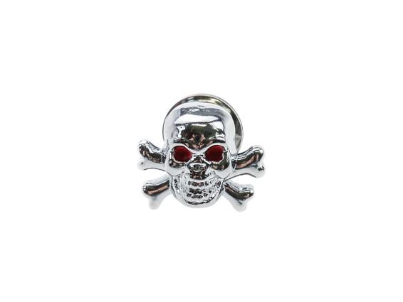Zierfigur Skull with Bones Chrom rote Augen (Gewindestift)
