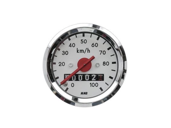 Tacho MMB 100 km/h Ø48 mm (weisses Ziffernblatt)