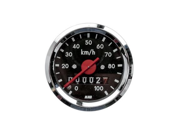 Tacho MMB 100 km/h Ø48 mm (schwarzes Ziffernblatt)