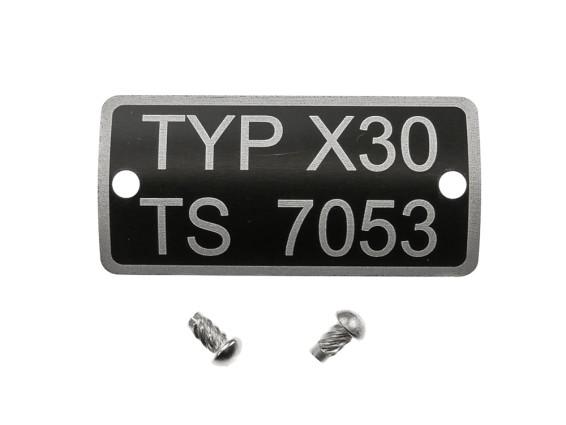 Typenschild X30 TS 7053