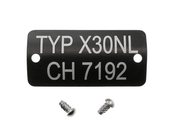 Typenschild Typ X30 NL CH7192
