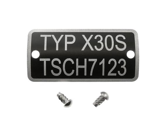 Typenschild X30S TSCH 7123