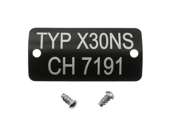 Typenschild Typ X30 NS CH7191