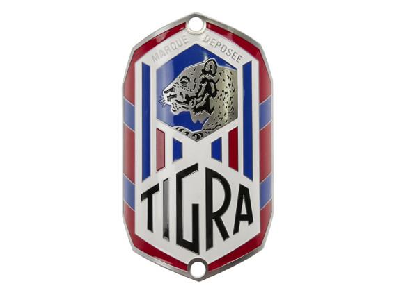 """""""Tigra"""" Markenschild am Steuerrohr"""