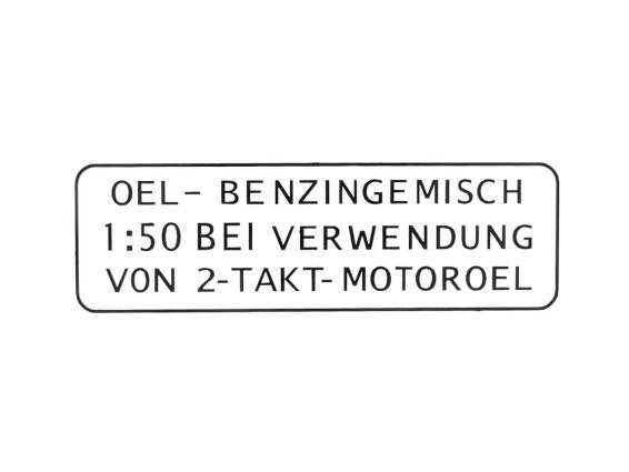 Aufkleber Benzin schwarz (original Puch) 3-zeilig