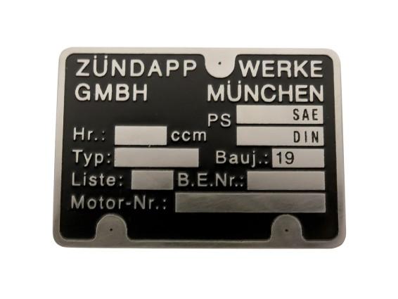 Motorenschild Zündapp 1A-Qualität (geätzt)