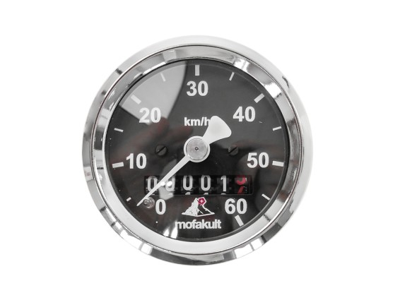 Tacho 60 km/h Ø48 mm (schwarzes Ziffernblatt) «Mofakult Spezial»